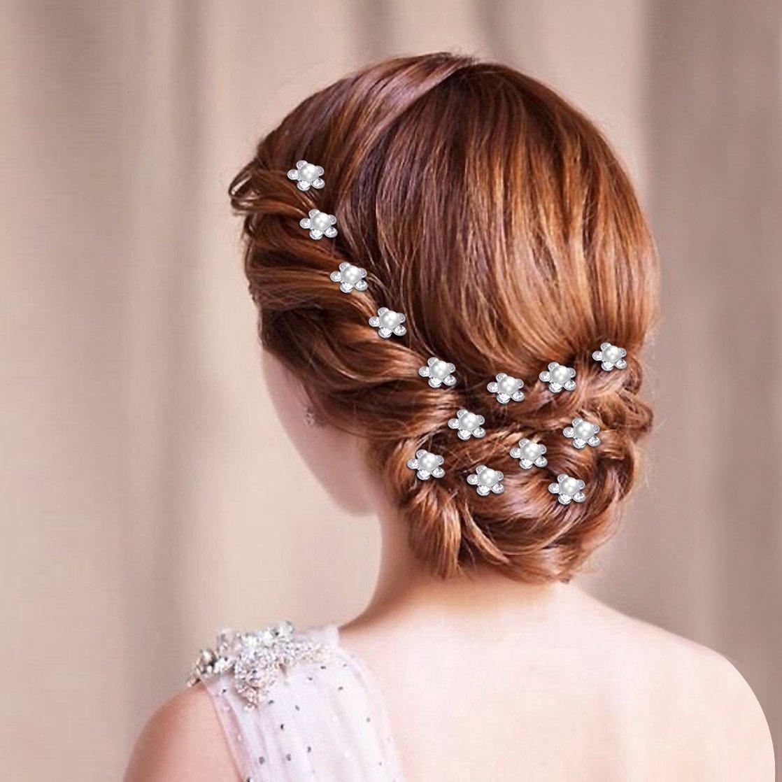 Hair accessories for wedding online india - Amazon Com Dxhycc 20pcs Bridal Hair Pins Pearl Flower Crystal Wedding Hair Clips Hair Accessories Beauty