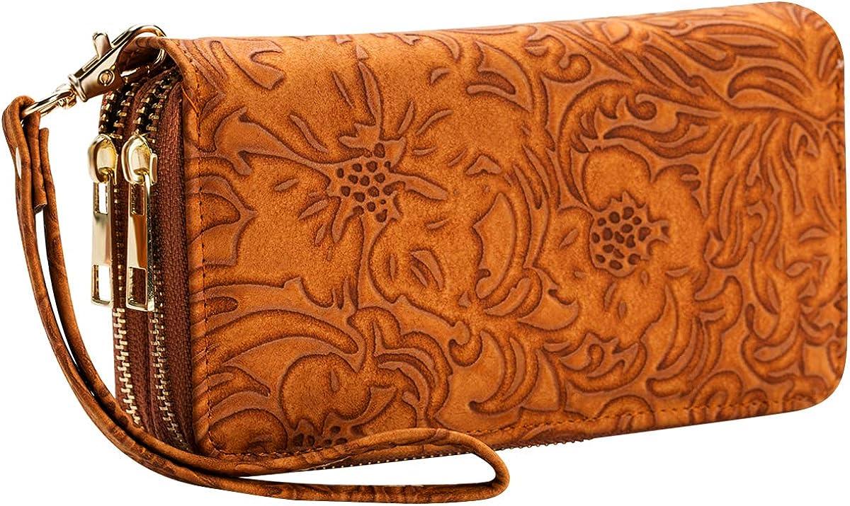 Heaye Animal Skin Floral Print Women Wristlet Wallet RFID Blocking Double Zip Ladies Travel Wallet 16 Card Slots Large Size