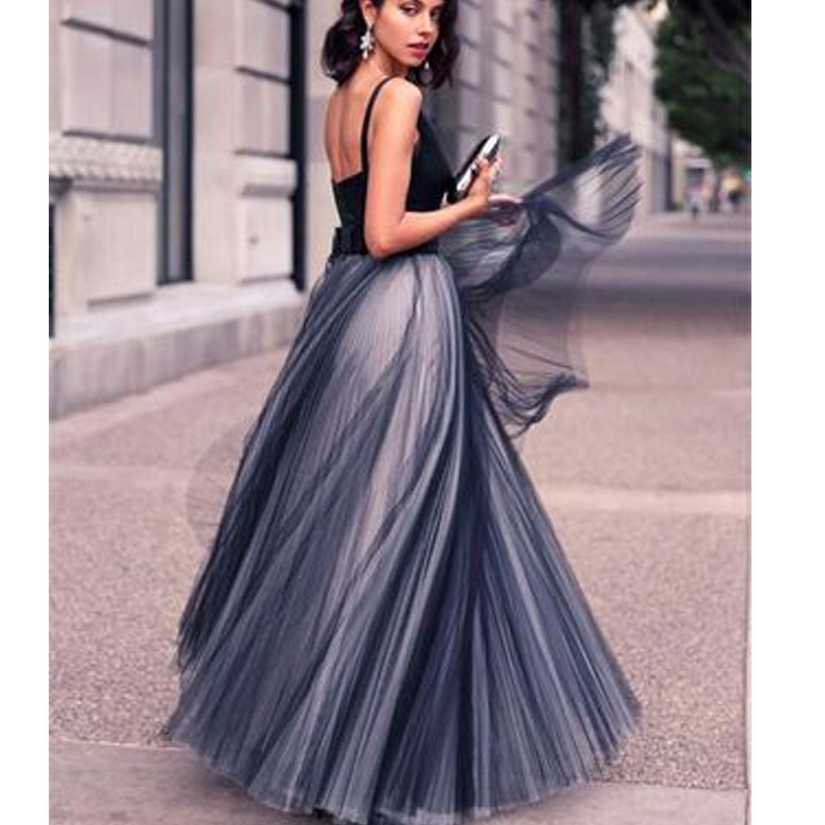 TTYbridal Satin V Neck Prom Dresses Long Tulle Formal Eveing Party Gowns - Black - 22 Plus: Amazon.co.uk: Clothing