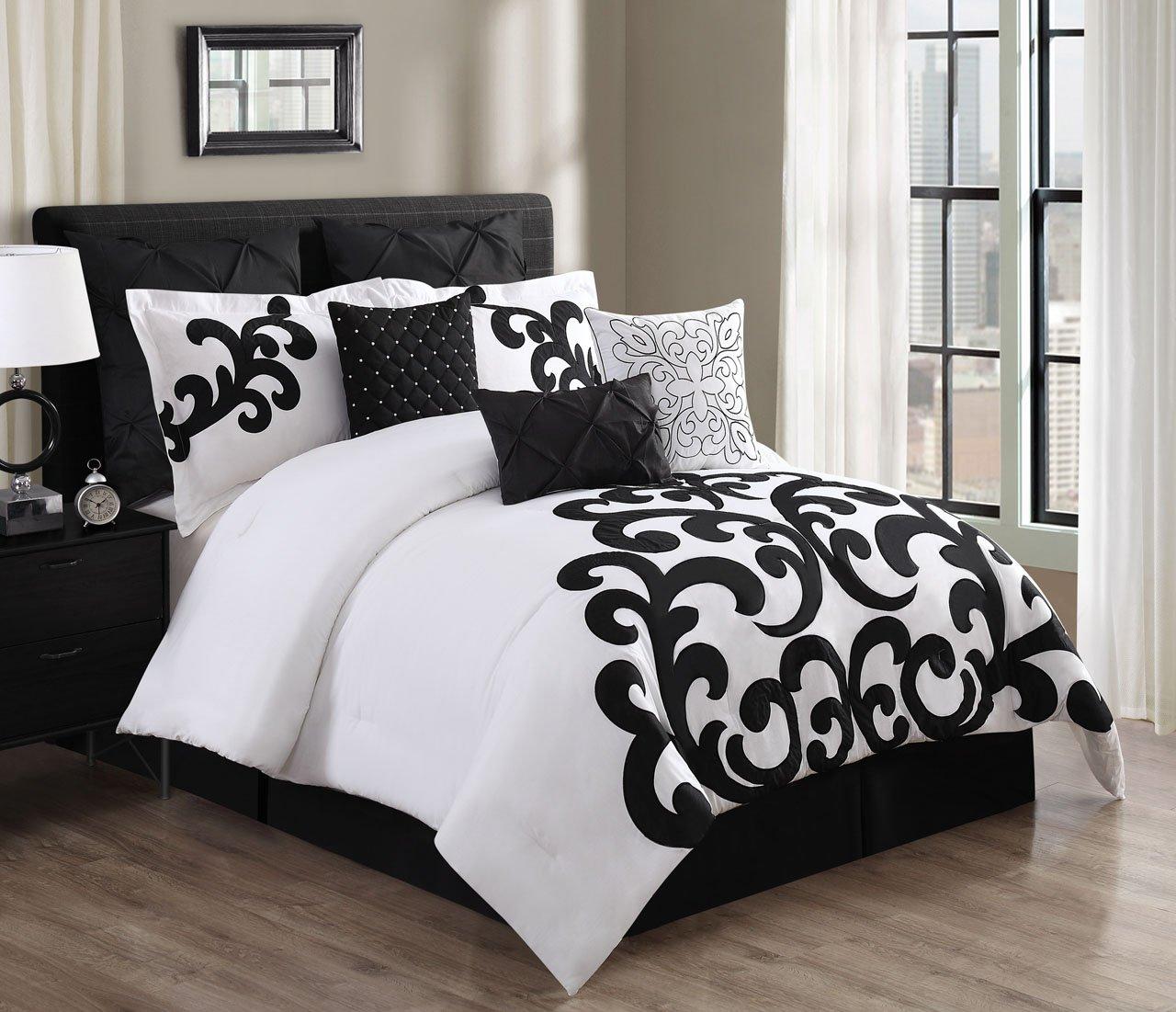 Amazon com kinglinen 9 piece empress 100 cotton black white comforter set queen home kitchen