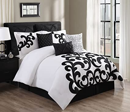 Kinglinen 9 Piece Empress 100 Cotton Black White Comforter Set Queen
