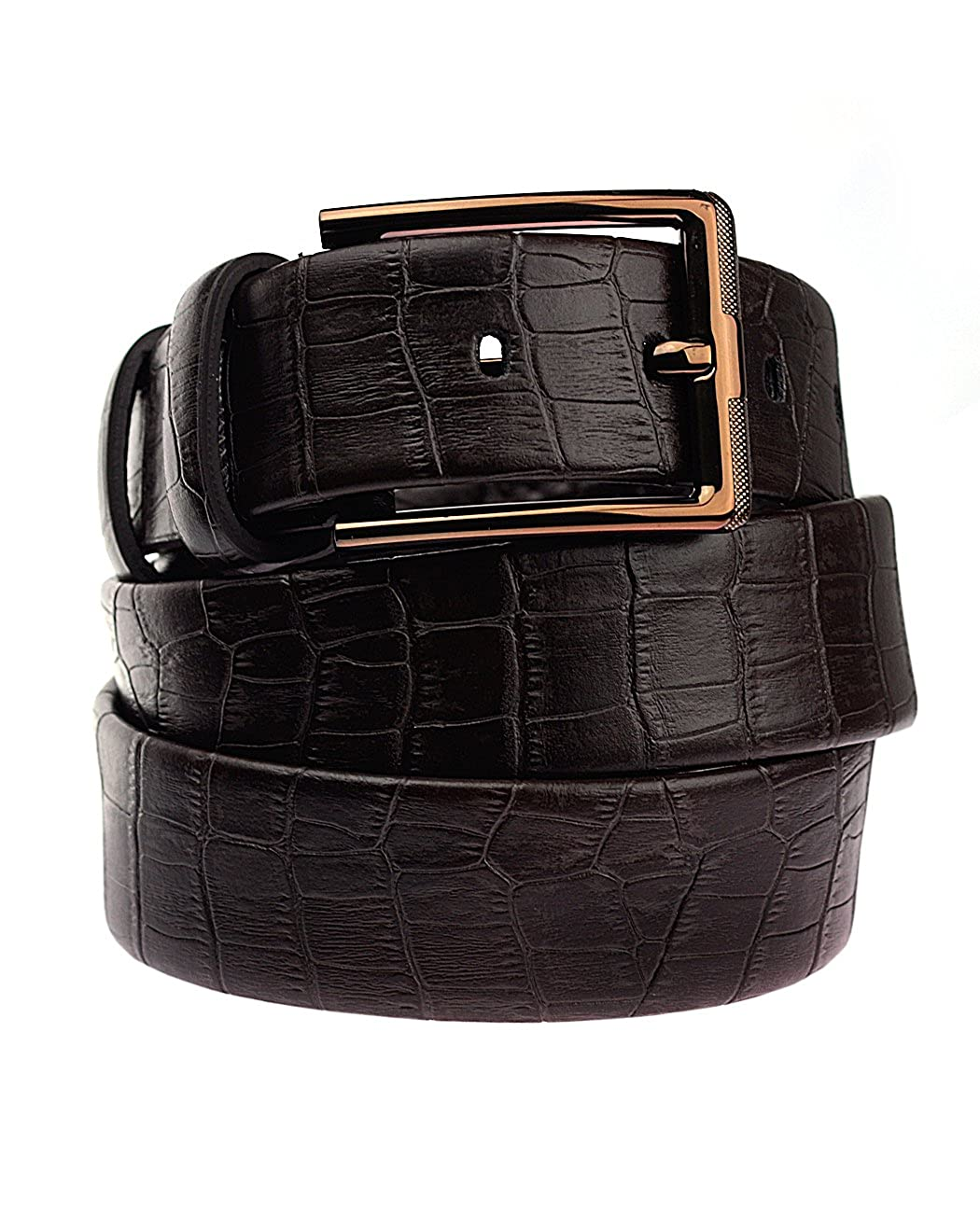 NYFASHION101 Reptile Skin Look Genuine Leather Square Buckle Belt