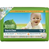 Seventh Generation Free and Clear Sensitive Skin Baby Diapers with Animal Prints, Size 2, 36 Count (Pack of 4)