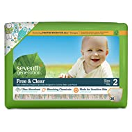 Seventh Generation Free & Clear Sensitive Skin Baby Diapers, Size 2, 36 ct