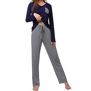 f84d4d5774 wishpower Pajamas Set for Women Soft Two Piece Sleepwear Loungewear Sets  Navy Blue S