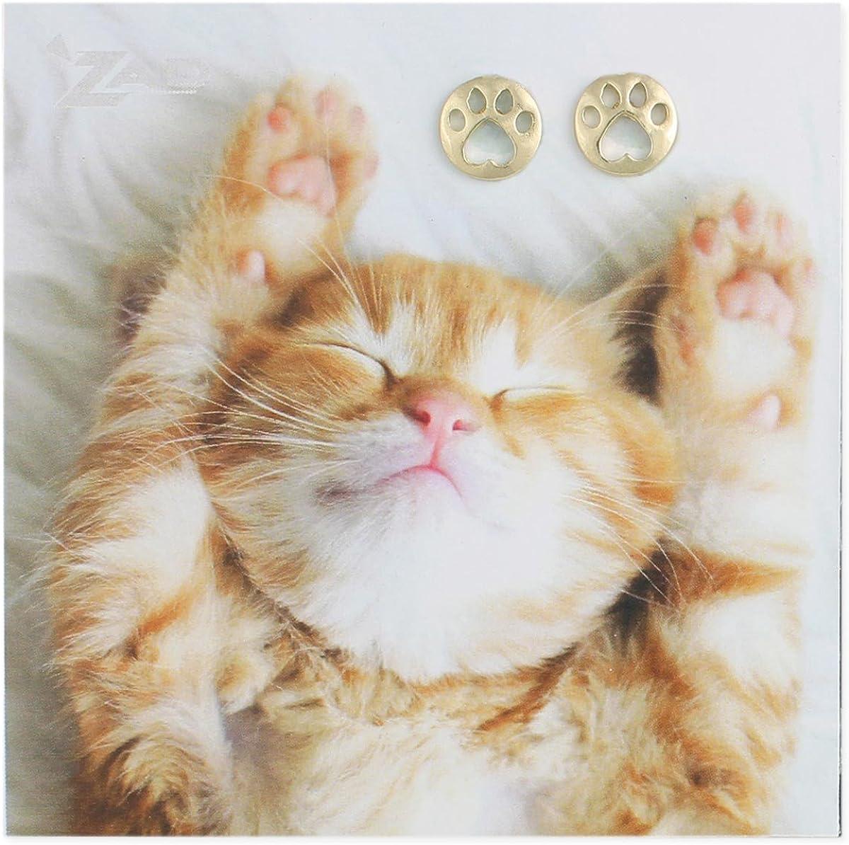 Ladies 14K Yellow Gold Cat Kitten Feline Post Stud Earrings 9x6mm