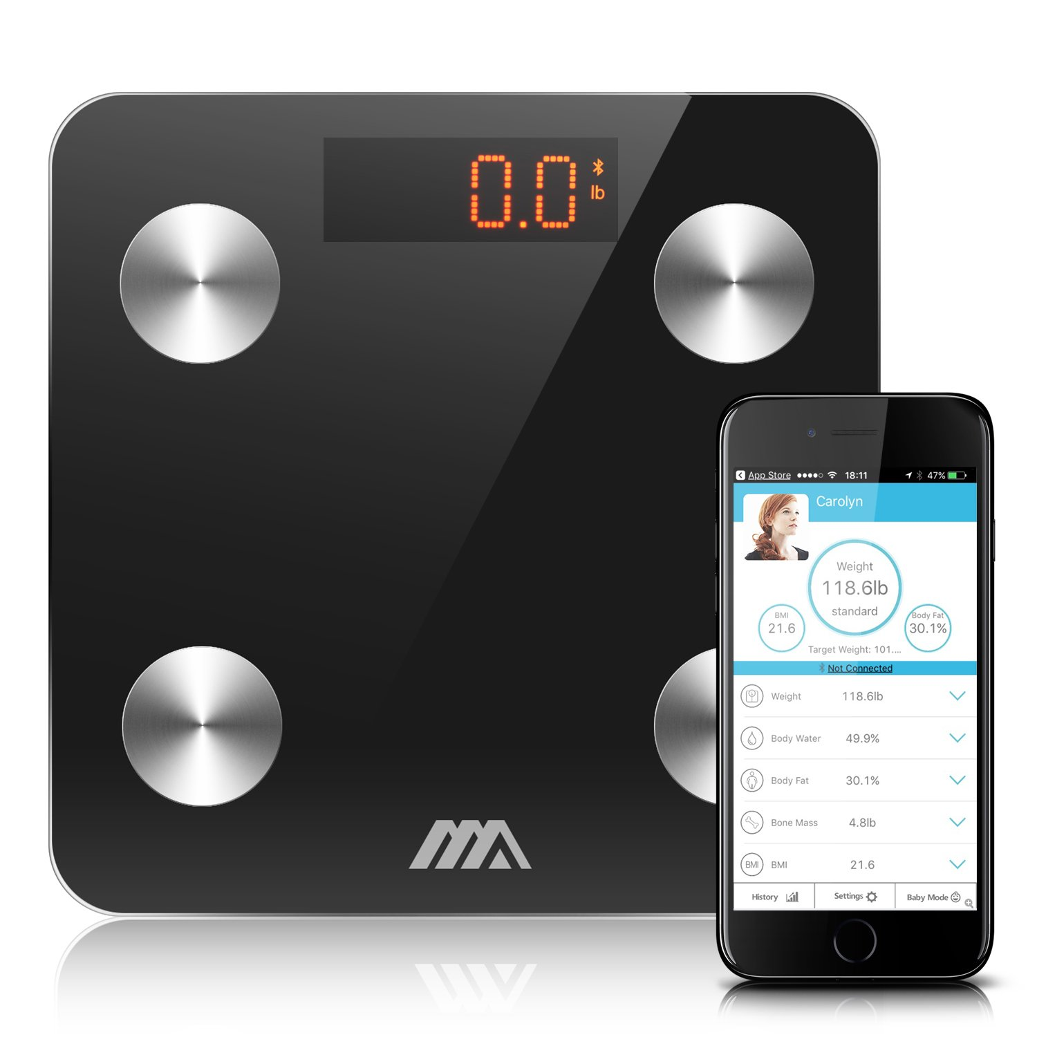 Adoric Bluetooth Smart Body Fat Scale - Body Composition Monitor with Large LCD Display, New FREE-APP Works with Android and IOS for Measuring Weight, Bone, Water, Muscle, Fat, BMI, BMR