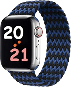 Hotflow Braided Solo Loop Compatible with Apple Watch Band 42mm 44mm,Elastics Strap Replacement Wristband for iWatch Series 6/SE/5/4/3/2/1(Blue/Black #10)