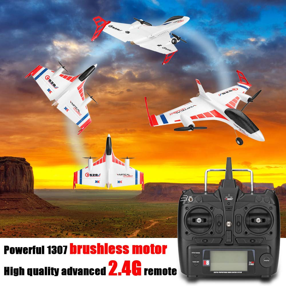 RC Airplane, XK X520 6CH 3D/6G Airplane Vertical Takeoff Land Delta Wing Glider, 2.4G RC Aircraft,with 2 Pcs 1307 Brushless Motor,EPP Material,for Indoors/Outdoors Flight