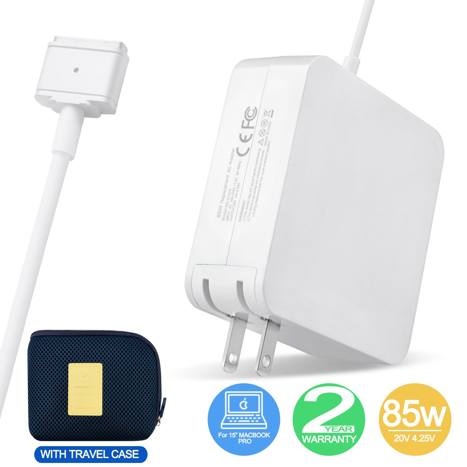 Macbook Pro charger, 85W MagSafe Power Adapter with MagSafe 2 (T-Tip) Style Connector for MacBook Pro 15-inch (Mid 2012 Later Model) Including a Travel Carrying Pouch