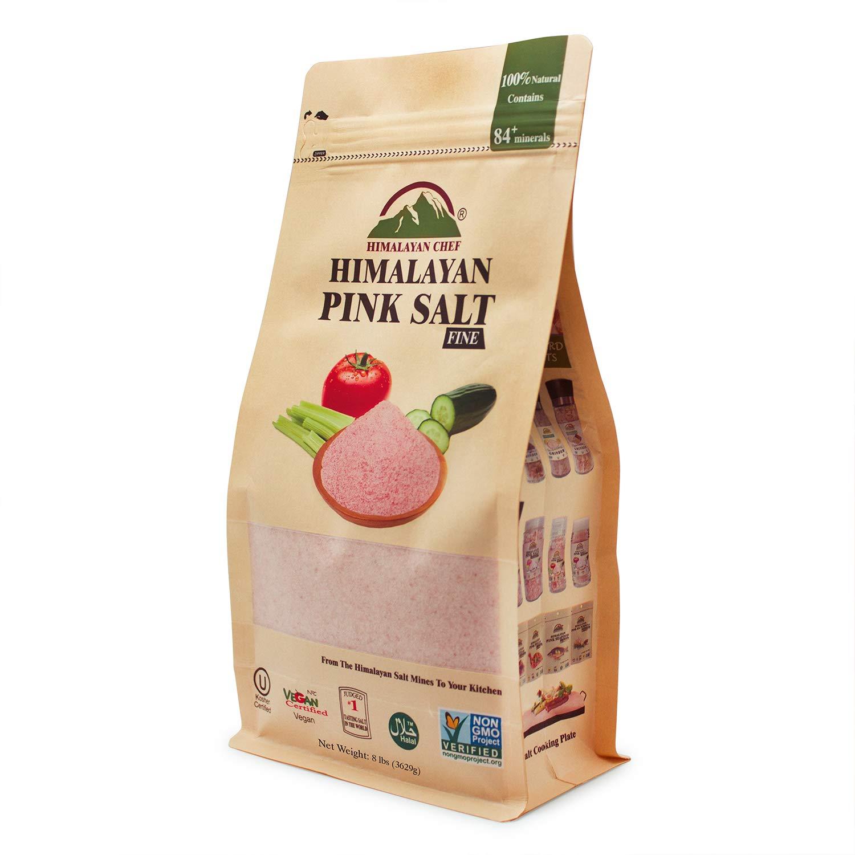Himalayan Chef Pink Himalayan Fine Salt, Pure Pink Salt 8 lbs Pouch, Kosher and Natural Certified Salt