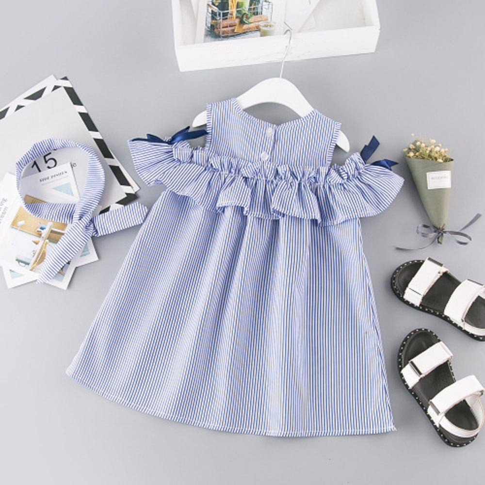 Girls Clothing Sets for 2-7Years Weant Newborn Baby Infant Toddles Girls Summer Strapless Stripe Dress+Headband Set 2 pcs Clothes Outfits Party Tutu Skirt Dress Princess Dress for Kids Girls Outfits