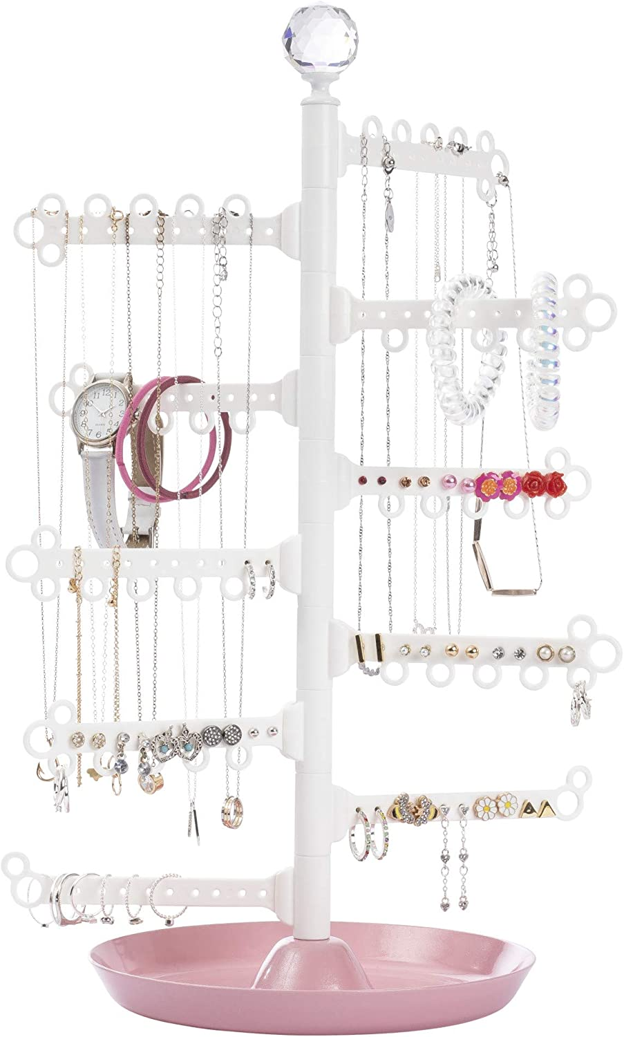 """All Hung Up 10-Tier 15"""" Rotating 360° Display Earrings (100 holes-stud/dangly), Necklaces, Bracelets, Rings - Stand Tower Storage Jewelry Organizer Holder / Dish Base - Petite 15"""" Height - Pink Tray"""