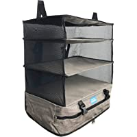 Stow-N-Go Portable Luggage System - Large - Gray Packable Hanging Travel Shelves and Packing Cube Organizer