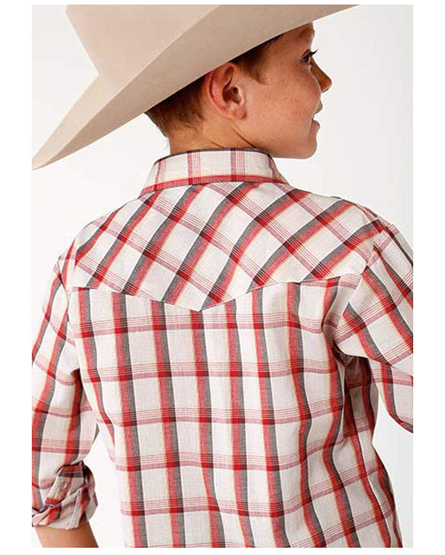 Roper Boys Plaid Long Sleeve Western Shirt