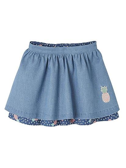 VERTBAUDET Falda Reversible niña Azul Medio Liso con Motivos 10A ...