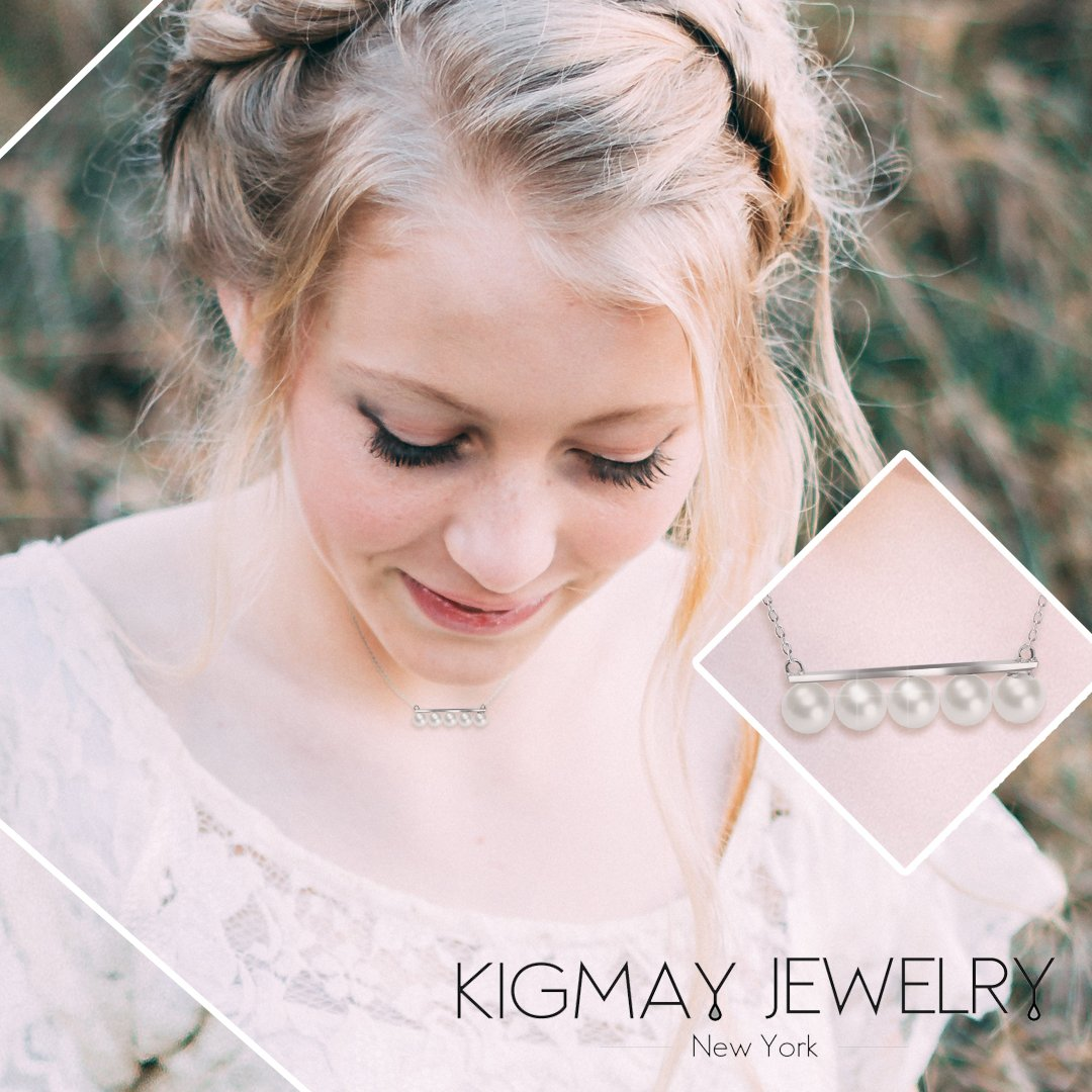 Perfect Valentines-Day Accessory Kigmay Jewelry 925 Sterling Silver Beautiful Five Pearls Bar Pendant Necklace For Women