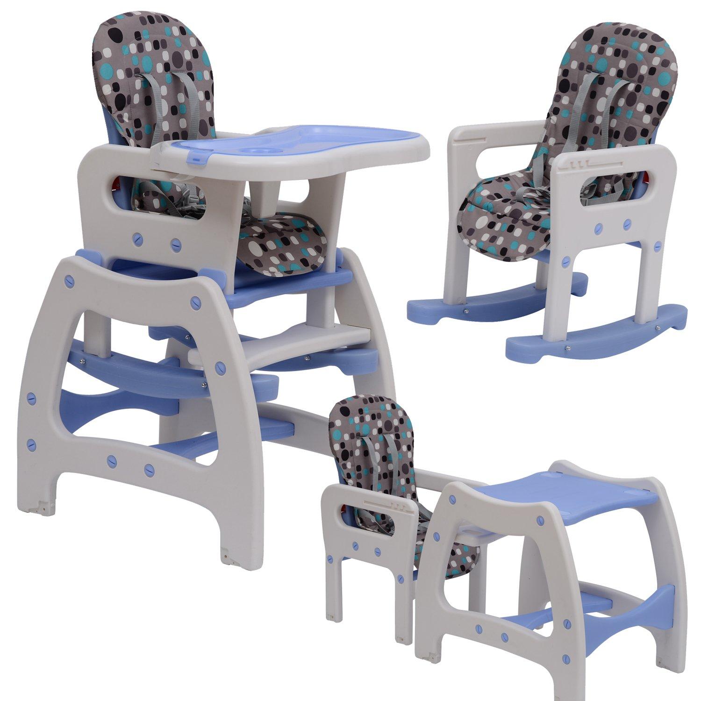 Outsunny Seggiolone per bimbi multifunzione 3 in 1 tavolino sedia da dondolo blu Amazon Prima infanzia