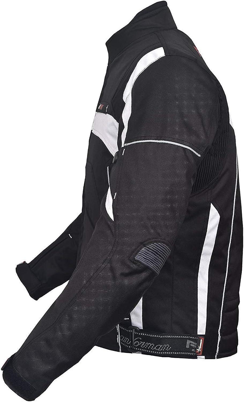NORMAN Black Mens Jacket Motorcycle Motorbike Waterproof Textile Cordura with CE Armoured