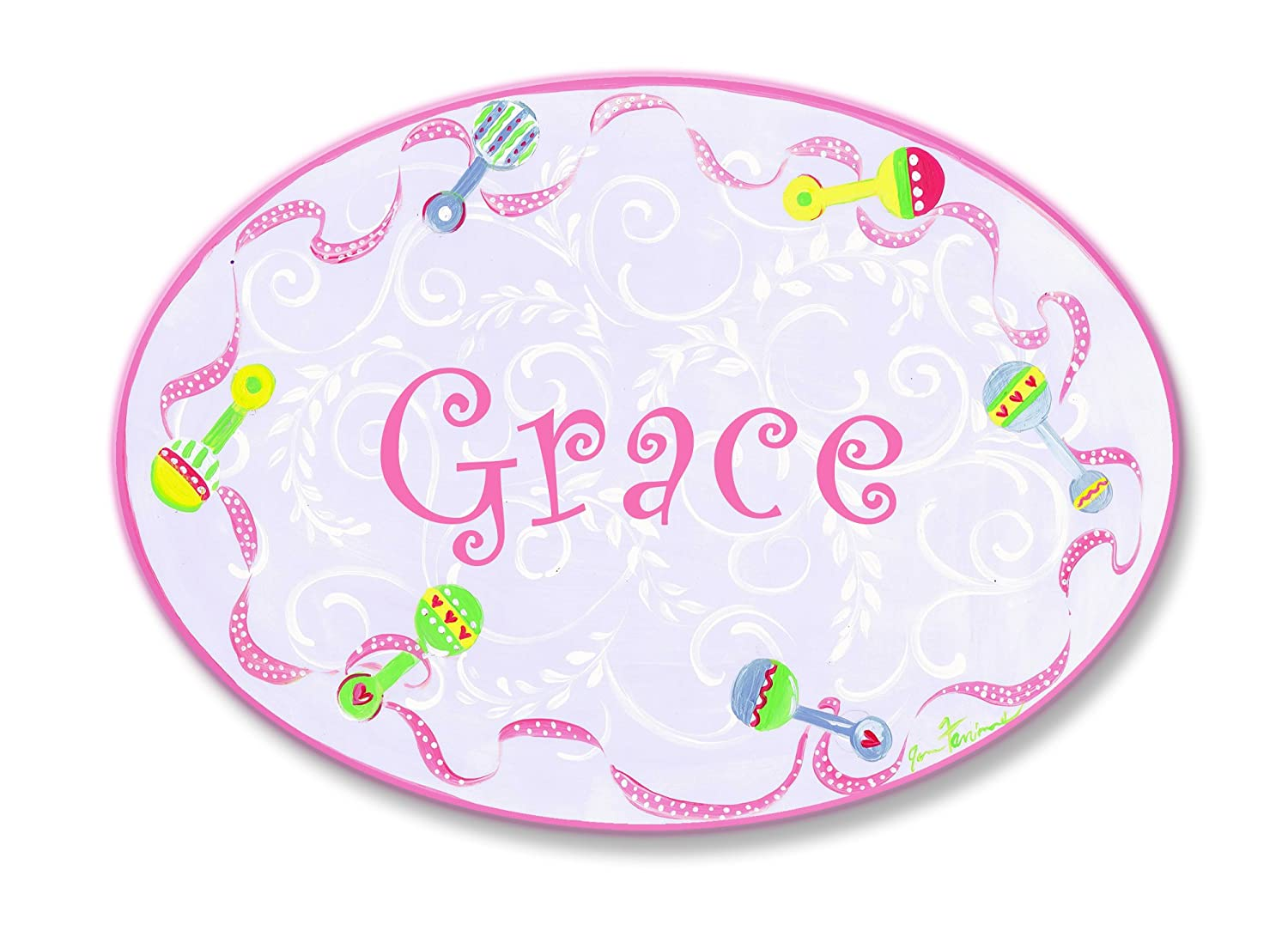 The Kids Room by Stupell Mia Pink with Multi-Colored Rattle Border Personalized Oval Wall Plaque pnp-947m