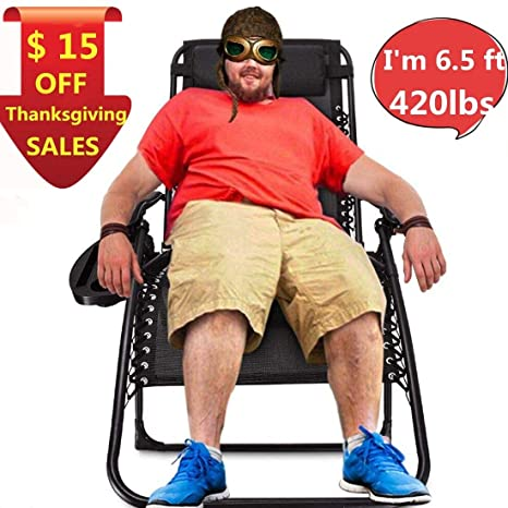 Amazing Ezcheer Zero Gravity Chair Oversized 420 Lbs Weight Capacity Patio Lounge Chair Folding Beach Chair Recliner 31 5 Inch Extra Wide Yard Chair With Cup Bralicious Painted Fabric Chair Ideas Braliciousco