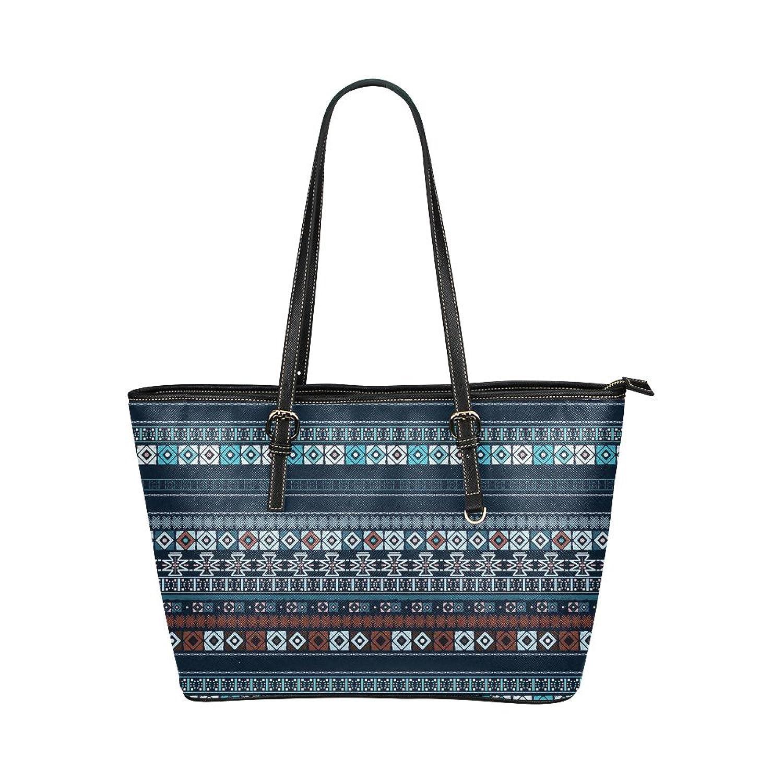 Blue Damask Women's PU Leather Large Tote Bag/Handbag/Shoulder Bag