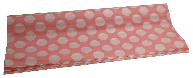 24fogli, colore: rosa. Polka Dot Design Carta Velina (Pois Bianchi su sfondo rosa) 500mm x 760mm, 30g Clikkabox Tissue