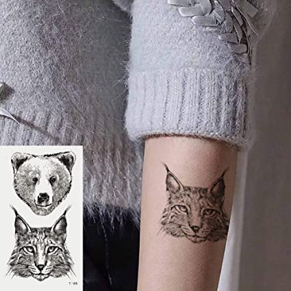 Oottati 2 Hojas Pequeño Lindo Tatuaje Temporal Tattoo Oso De Gato ...