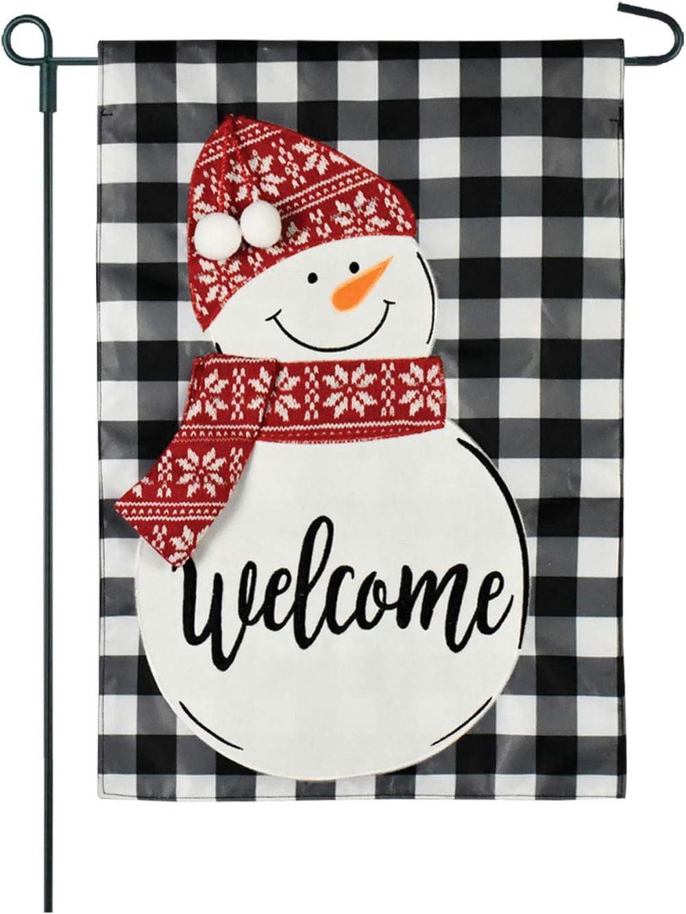 Twisted Anchor Trading Co Welcome Garden Flag - Snowman Garden Flag Buffalo Plaid Burlap Christmas Holiday Home Garden Flag 12.5 x 18