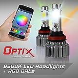 Optix V18 H11 RGB LED Headlight Conversion Kit - RGB DRL LED Headlight Conversion Bulbs - 6500K White All-In-One