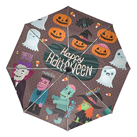 COOSUN Monster Halloween y zombi automático 3 plegable del paraguas del parasol Color # 002