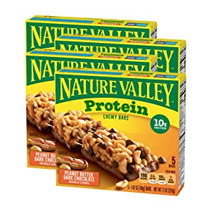 Nature Valley Chewy Granola Bar, Protein, Gluten Free, Peanut Butter Dark Chocolate, 5 Bars-1.42 Ounce each bar, 7.1 Ounce (Pack of 4)