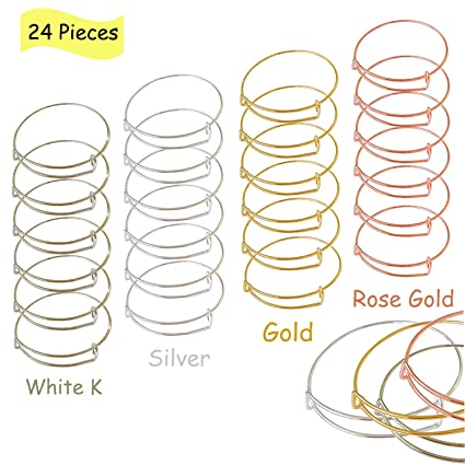 meekoo 48 Pieces Bangle Bracelet Adjustable Wire Bangle Bracelet Stainless Steel Expandable Bracelet for DIY Jewelry Making