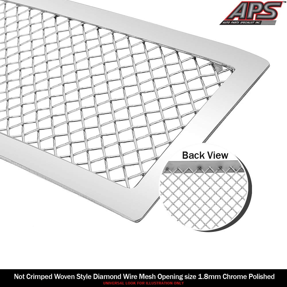 APS Compatible with 2014-2015 GMC Sierra 1500 Stainless Steel Chrome 1.8 mm Wire Mesh Grille Insert