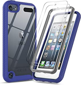iPod Touch 7th 6th 5th Generation Case, iPod Touch Case with Tempered Glass Screen Protector [2 Pack], LeYi Full-Body Hybrid Rugged Protective Clear Bumper Case Cover for Apple iPod Touch 7 6 5