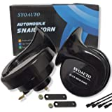 SYOAUTO Car Horn Truck Horn 12V Horn Waterproof High Low Tone Universal Fit Super Loud Electric Snail Horn 12V Horn Kit Repla