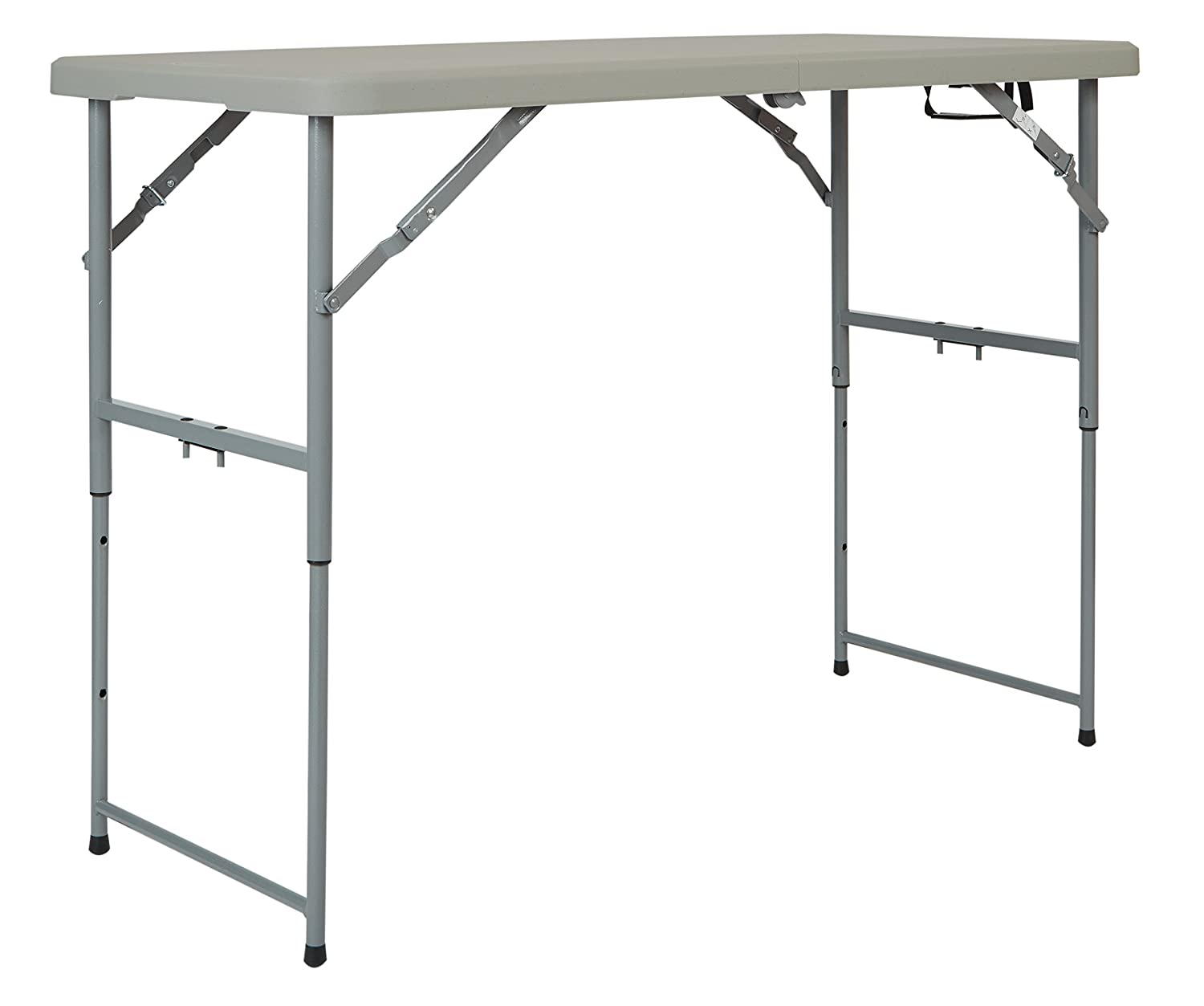 Office Star Resin Multipurpose Rectangle Table, 4-Feet Long, Height Adjustable, Center Folding Table