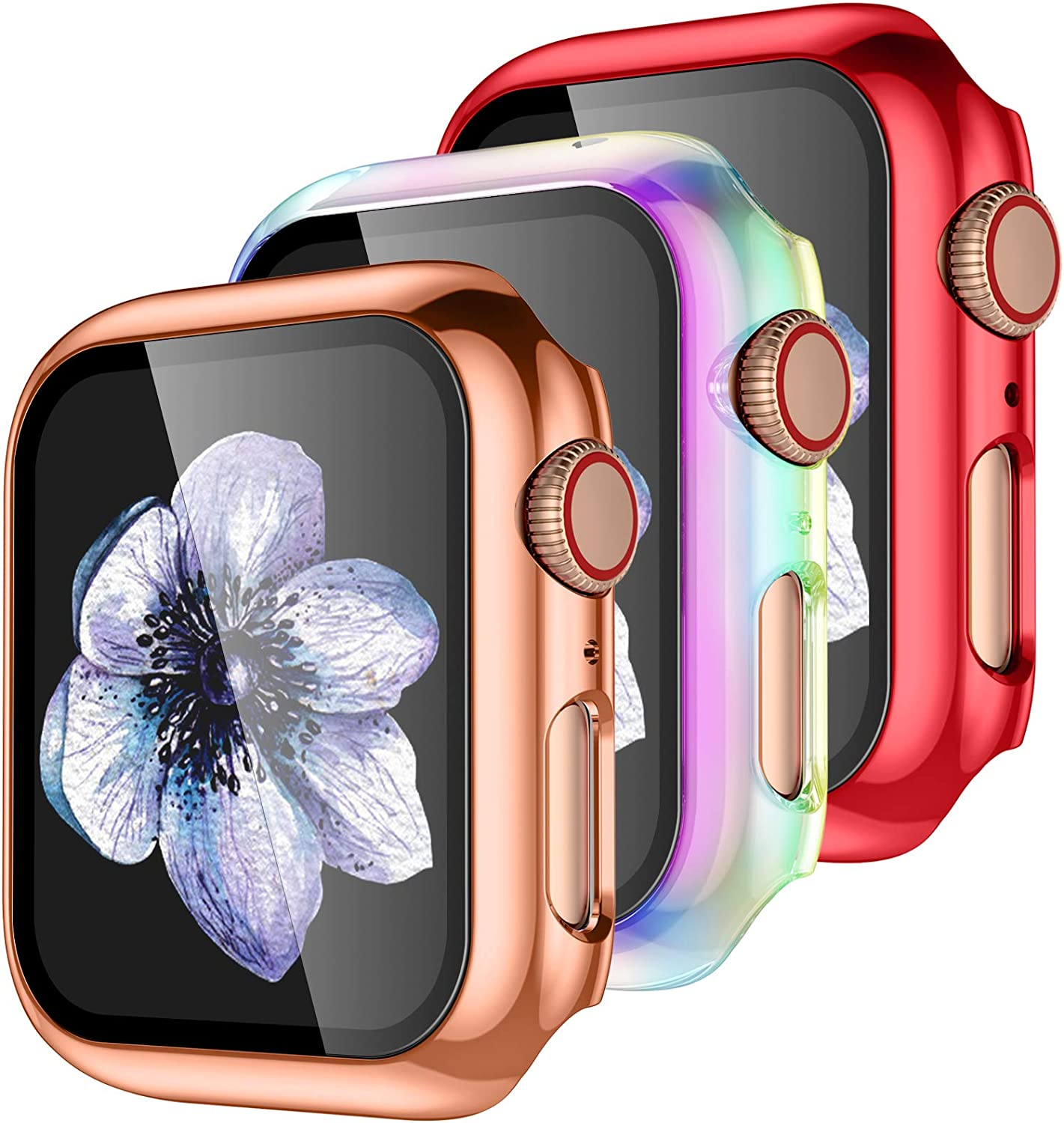 【3 Pack】 Easuny Design for Apple Watch Case 38mm Series 3 2 1 with Built-in Glass Screen Protector - Overall Protective Hard Cover Accessories for iWatch Women Men,Rose-Gold Red Colorful