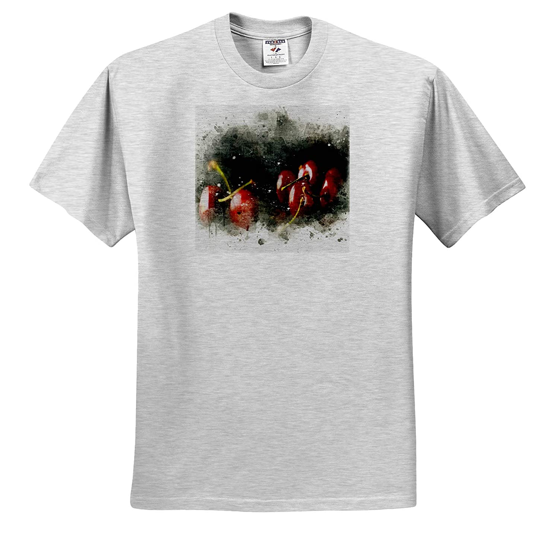 Impressionist Mixed Media Art 3dRose Anne Marie Baugh ts/_318678 Image of Watercolor Cherries Art Adult T-Shirt XL