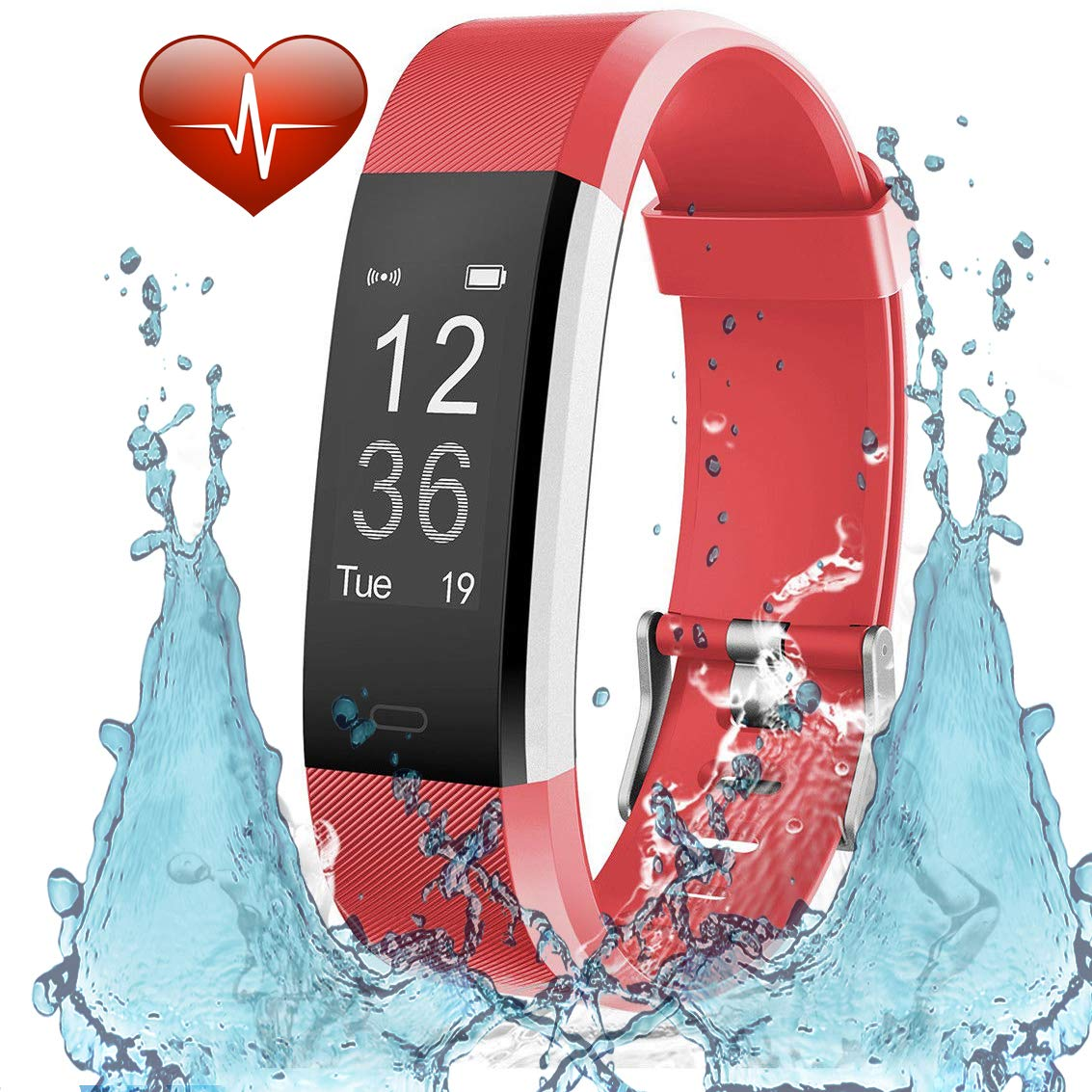 TRENDY PRO Fitness Tracker HR with Heart Rate Monitor, HR Smart Activity, Waterproof, Step & Calorie Counter, Compatible with Android & iOS Apple (Red)