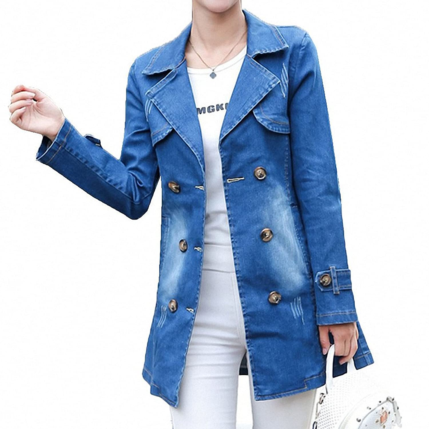 Large Size Denim Jackets For Women Loose Chaqueta Mujer Long Sleeve Jean Jacket Famele Slim Lace-Up Jaqueta Feminina at Amazon Womens Coats Shop