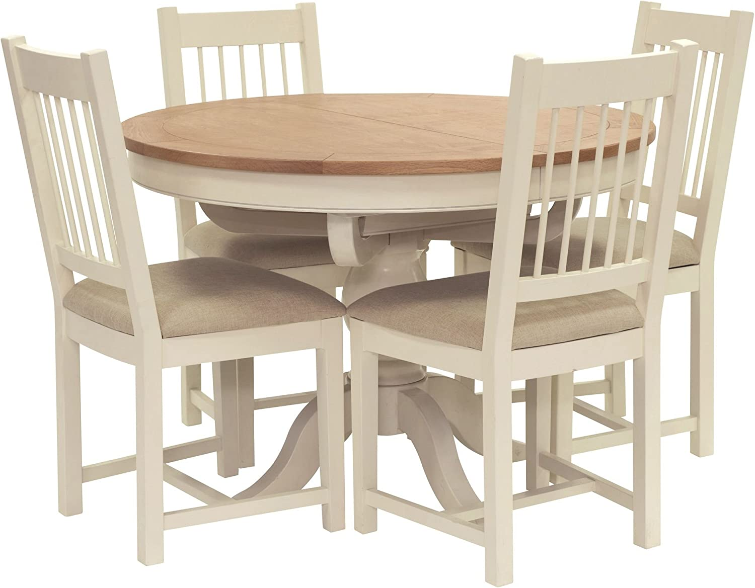Top Newquay Oak Round Extending Dining Table And 4 Spindle Back Dining Chairs With Cream Seat Willis Gambier Amazon De Kuche Haushalt
