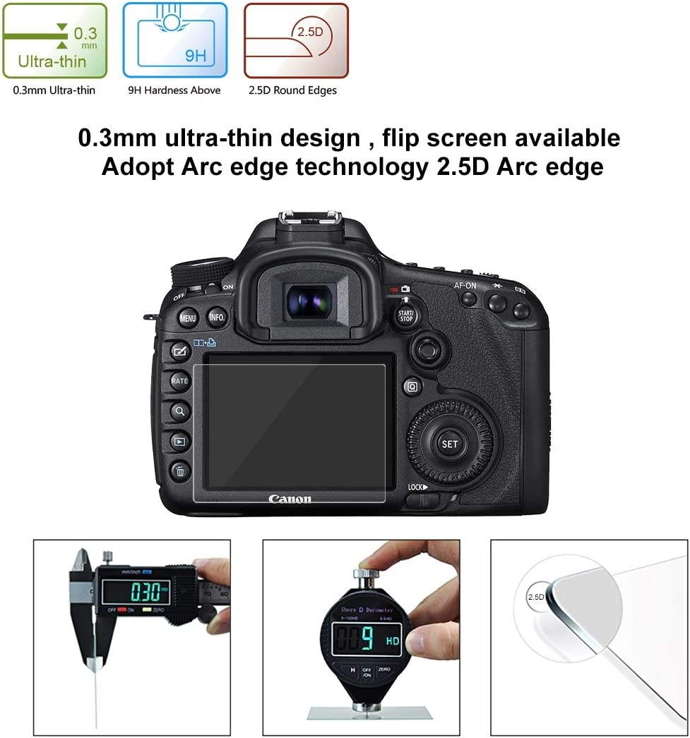 Sony RX100 // A7M2 // A7R //A7R2 DMC-LX100 etc Panasonic GH5 Reli 60 PCS 2.5D Curved Edge 9H Surface Hardness Tempered Glass Screen Protector Kits for Canon 5D Mark IV//Mark III Nikon D3200 // D3300