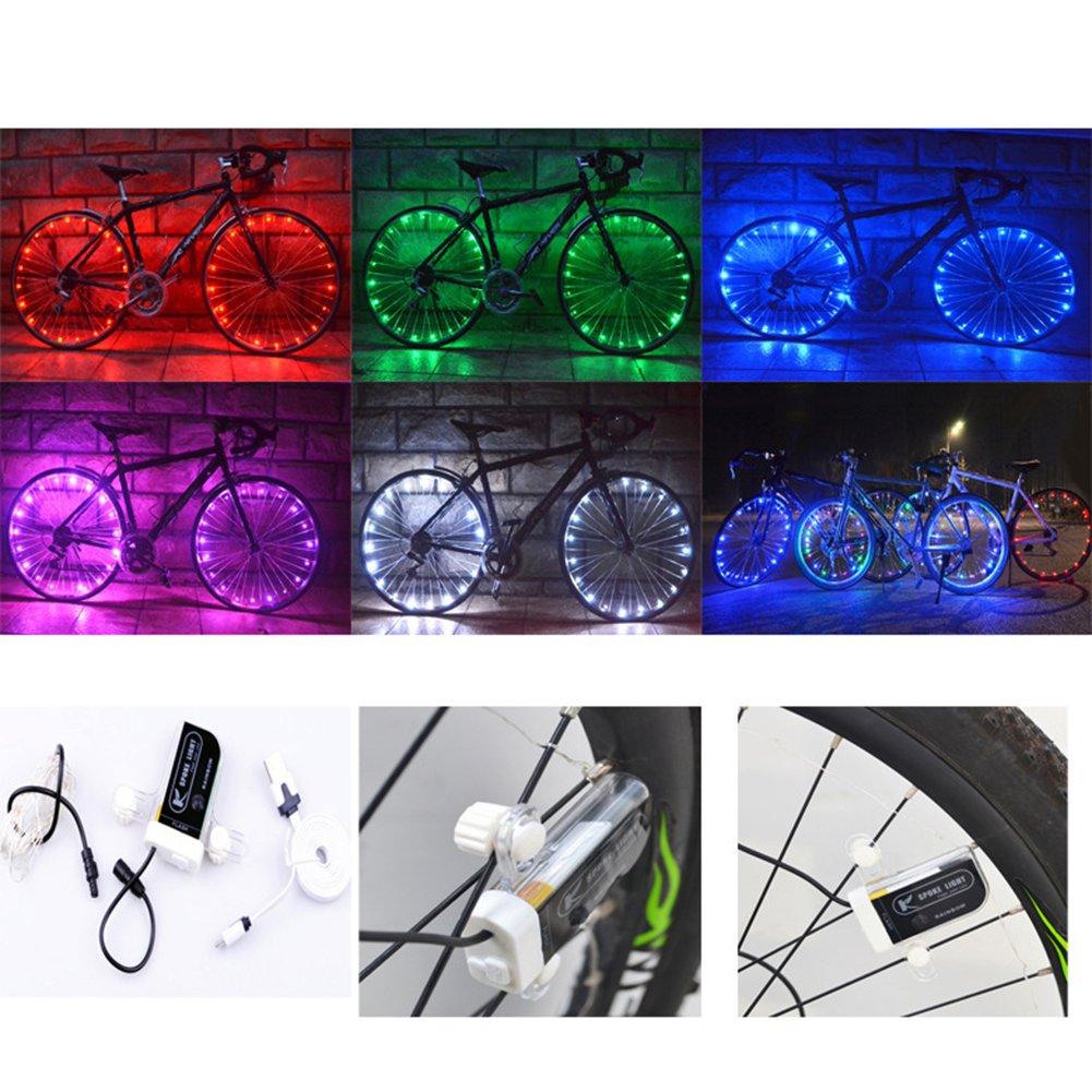 Meiyiu Colourful LED Bike Wheel String Lights USB Chargeable Cool Spoke lamp Christmas Light Decoration