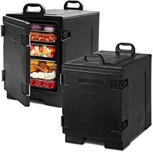 COSTWAY End-Loading Insulated Food Pan Carrier, 5 Full-Size Pan, 81 Quart Capacity, Food-grade LLDPE Material, Portable Food Warmer with Fastener, Ideal for Canteen and Restaurant Use (2)