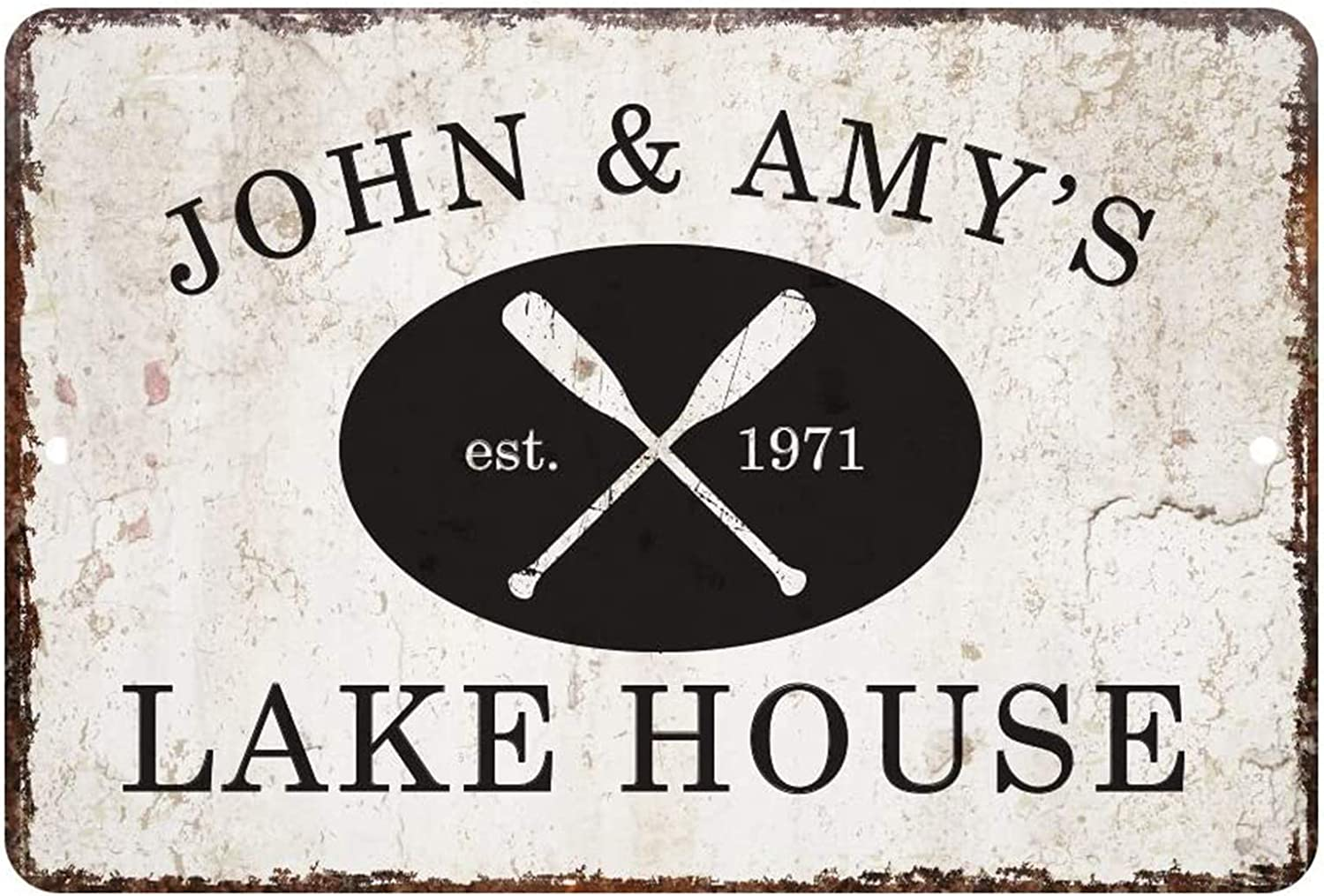 aianhe Personalized Vintage Distressed Look Lake House Sign Customizable Home Wall Decor Sign