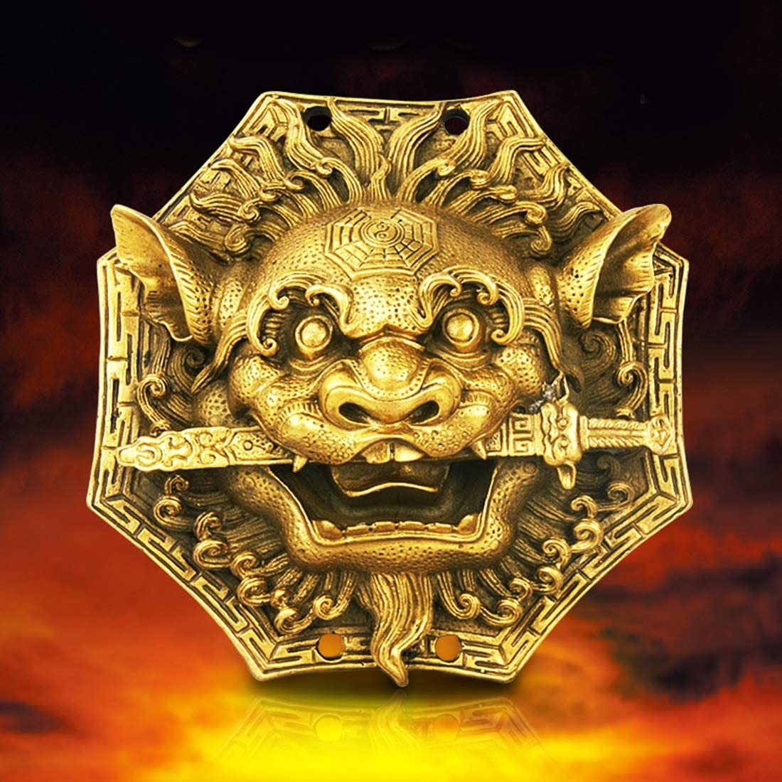 better us Chinese Feng Shui Brass Stereoscopic Beast Head Bagua Mirror 6.3 Inch