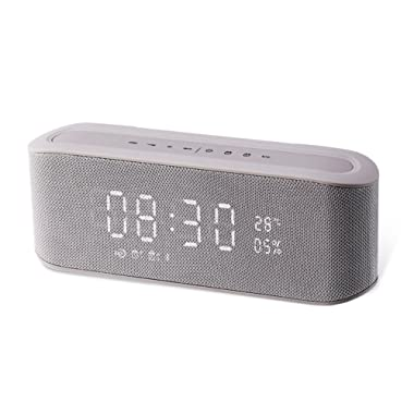 Resonus 4.2 Wireless Speaker with Radio, 2 Alarm Clock, Snooze, Stereo Sound, Enhanced Bass, Aux in, TF Card Slot, LED Display Time/Thermometer, 33 ft Bluetooth Range Portable Speaker Grey