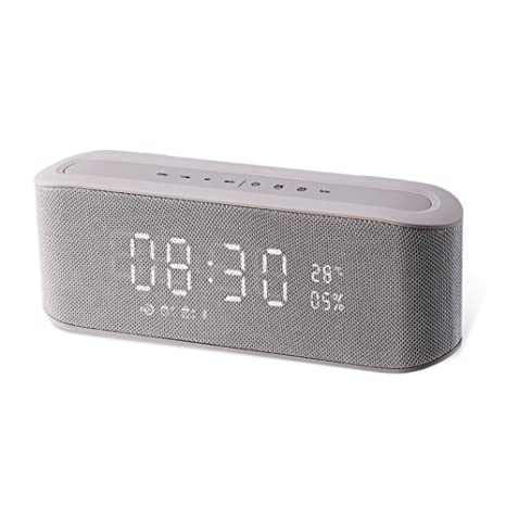 Resonus 4.2 Wireless Speaker with Radio, 2 Alarm Clock, Snooze, Stereo Sound, Enhanced Bass, Aux in, TF Card Slot, LED Display Time/Thermometer, 33 ft ...