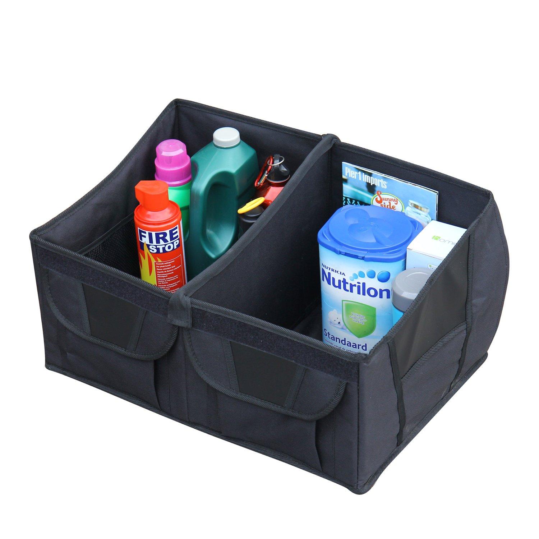 ELEGAN Car Trunk Organizer Storage with Straps Black